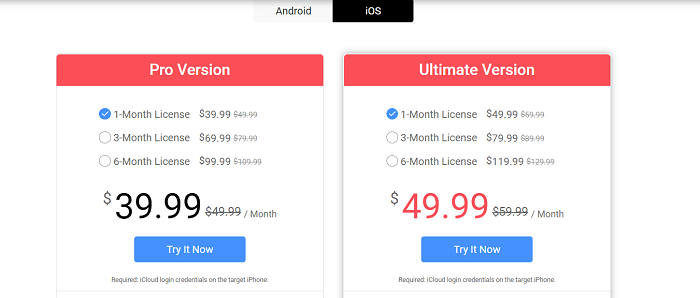 Spyzie cost - iOS plans
