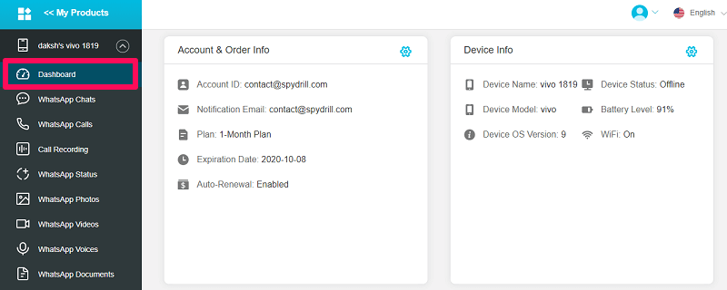 device information on dashboard