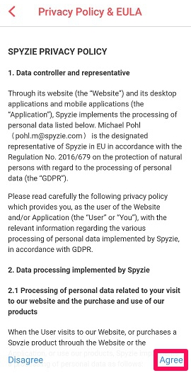 privacy and eula policy of spyzie