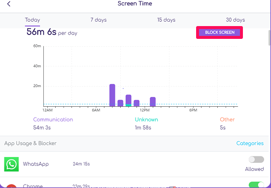 view screen time with famisafe