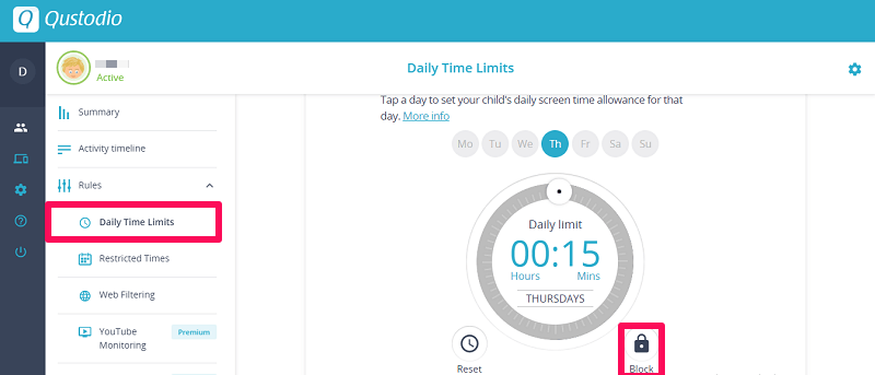 Qustodio review - daily time limits