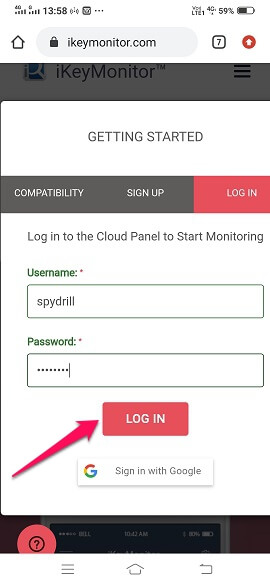 ikeymonitor login with same credentials
