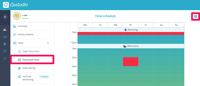 restricted times feature