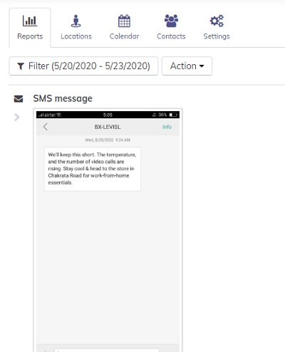 sms screenshot