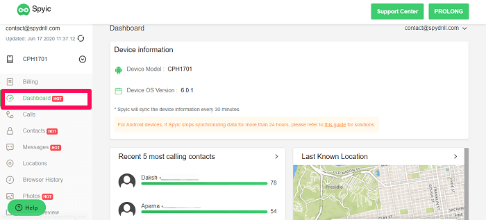 calls and location on dashboard