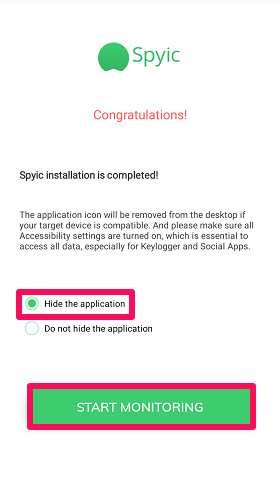 hide spyic application