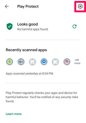 play protect settings icon