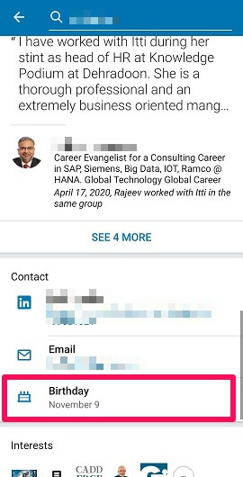 birthday information in contact on linkedin