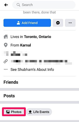 facebook photos option
