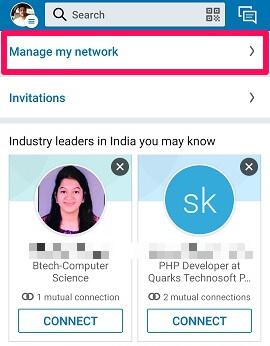 linkedin manage my network