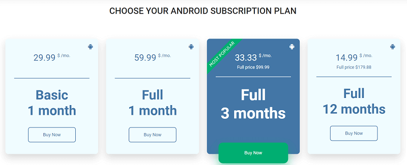 uMobix Android Pricing