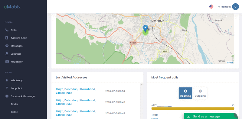 uMobix Dashboard Location