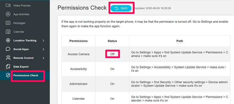Checking App Permission Of KidsGuard Pro