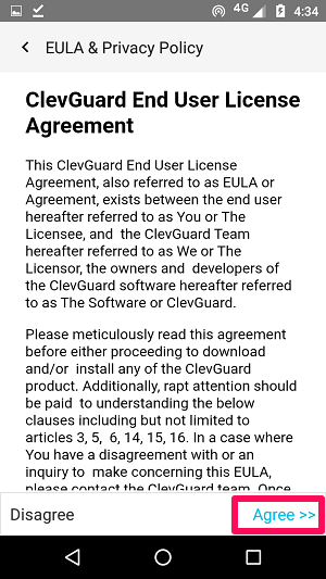Accepting ClevGuard End User
