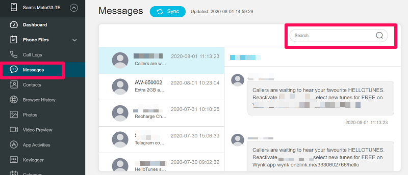 Monitoring Spouse Messages