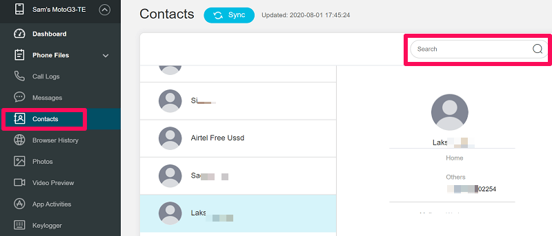 Monitor Spouse Contacts