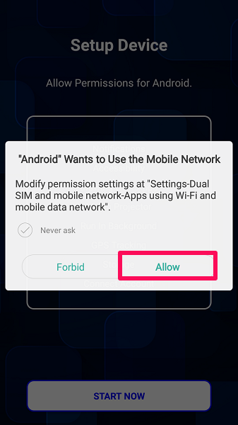 allow app to use mobile network