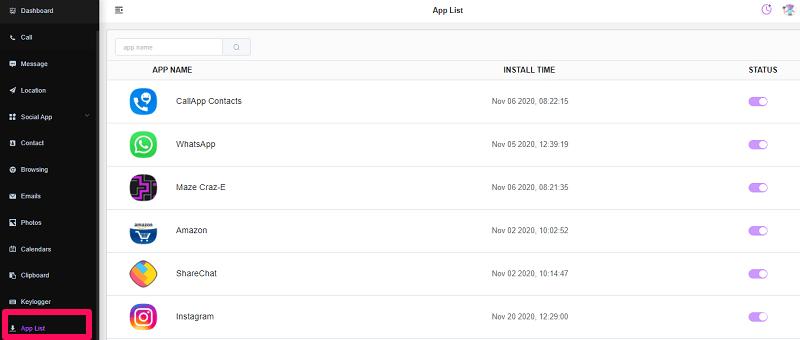 aispyer app list feature
