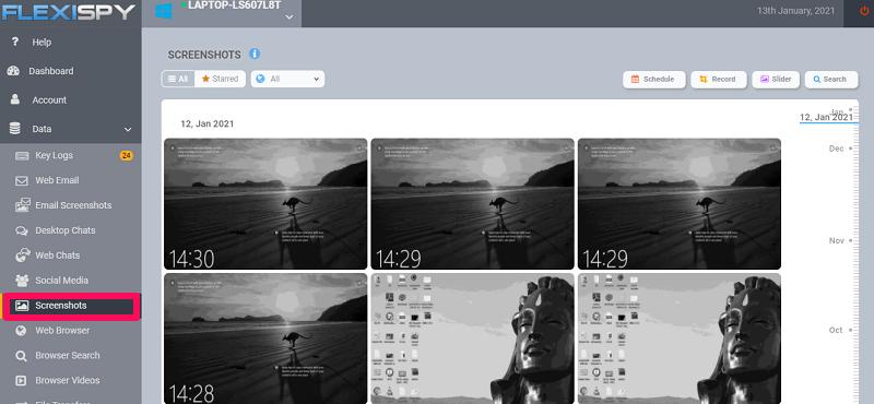 screenshots feature for keystroke tracking