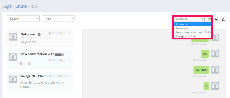 sorting by groups and chats
