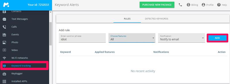 keyword tracking of mspy