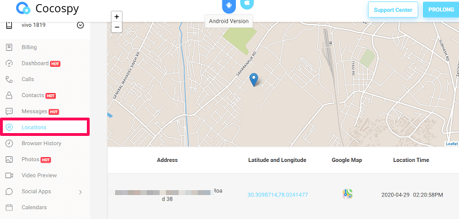 location feature cocospy