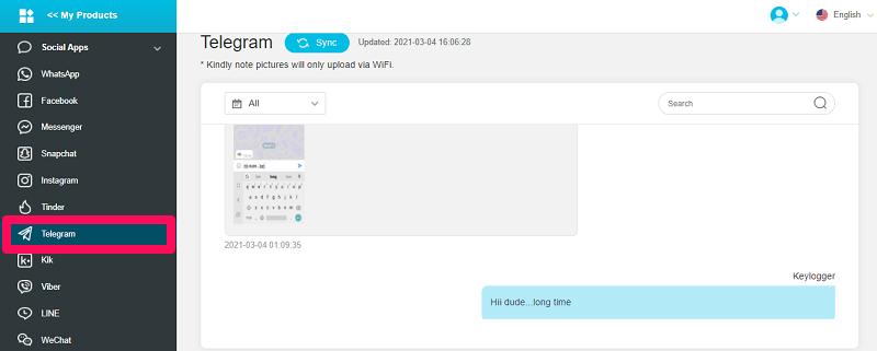 spy on Telegram messenger