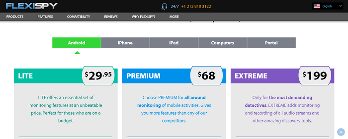pricing of flexispy