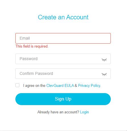 sign up credentials
