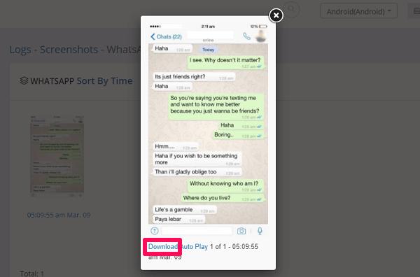 downloading screenshot with ikeymonitor