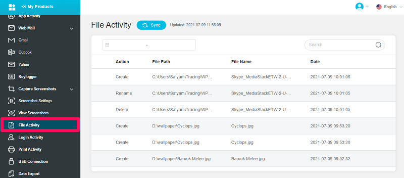 file activity feature