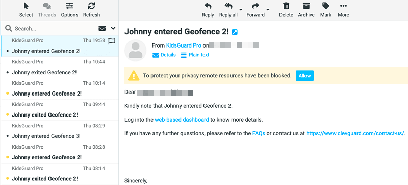 geofencing email notification on KGP