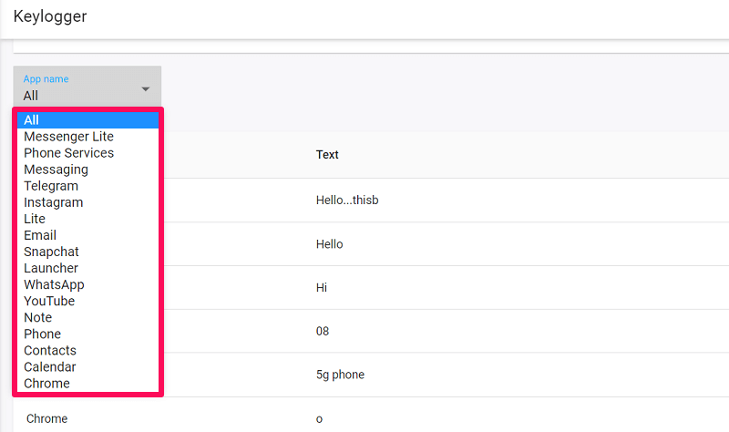 keystroke of selected apps